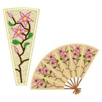 Oriental Fans Machine Embroidery Design