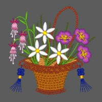 Blooming Baskets Machine Embroidery Design