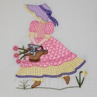 Sun Bonnet's Garden Embroidery Design