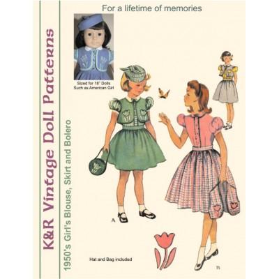 KRVP-1655 1950's Blouse, Skirt & Bolero PATTERN
